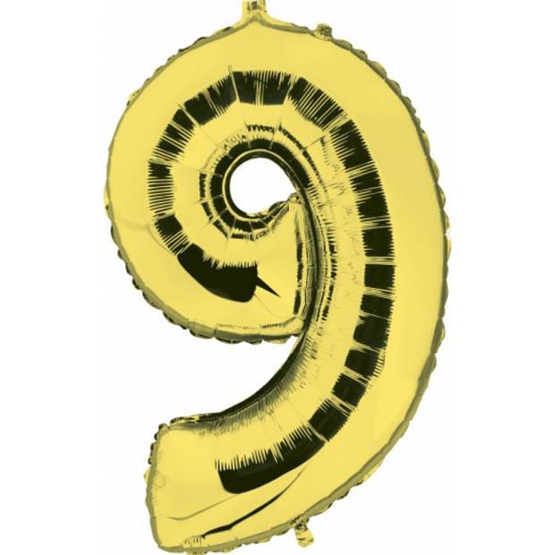Cijfer 9 ballon goud