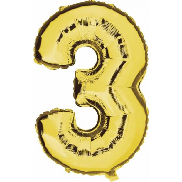 Cijfer 3 grote leeftijdversiering ballonnen goud 100 cm - 3 jaar feestartikelen versiering
