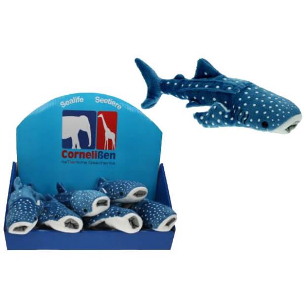 Pluche blauwe walvis haai 28 cm