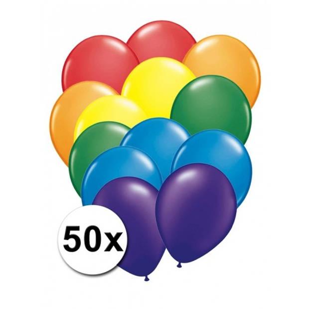 50 Stuks regenboog kleuren ballonnen