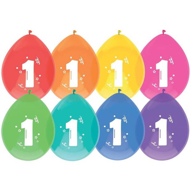 8x Ballonnen 1 jaar - Verjaardag - Kinderfeestje - Leeftijd versiering