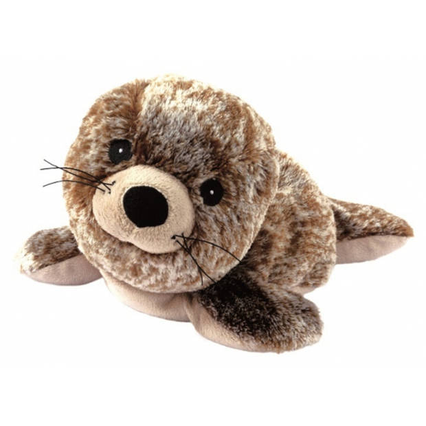 Pluche warmte knuffel zeehond bruin / creme gemeleerd - magnetron knuffel