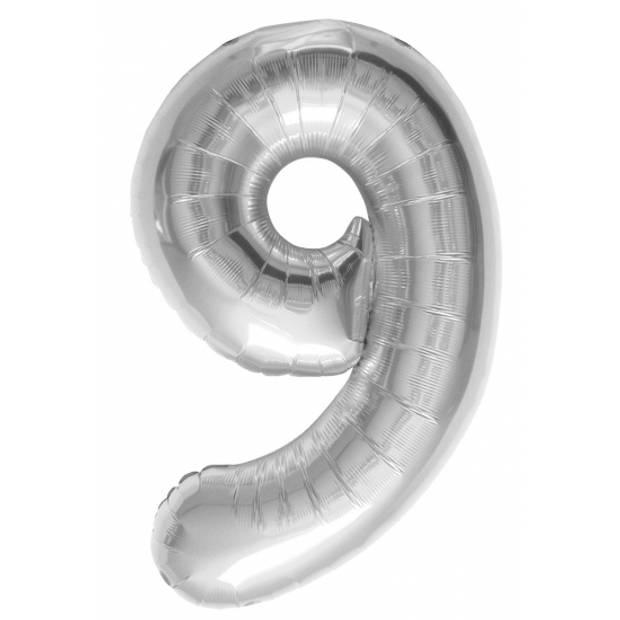 Helium ballon cijfer 9 zilver