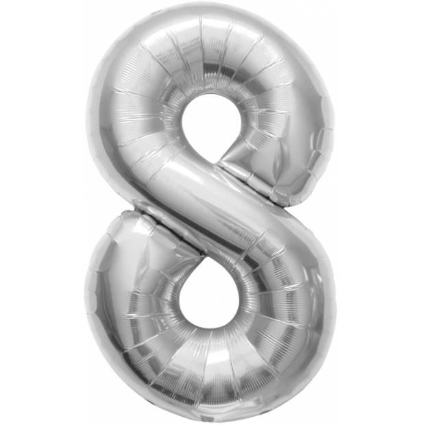 Helium ballon cijfer 8 zilver