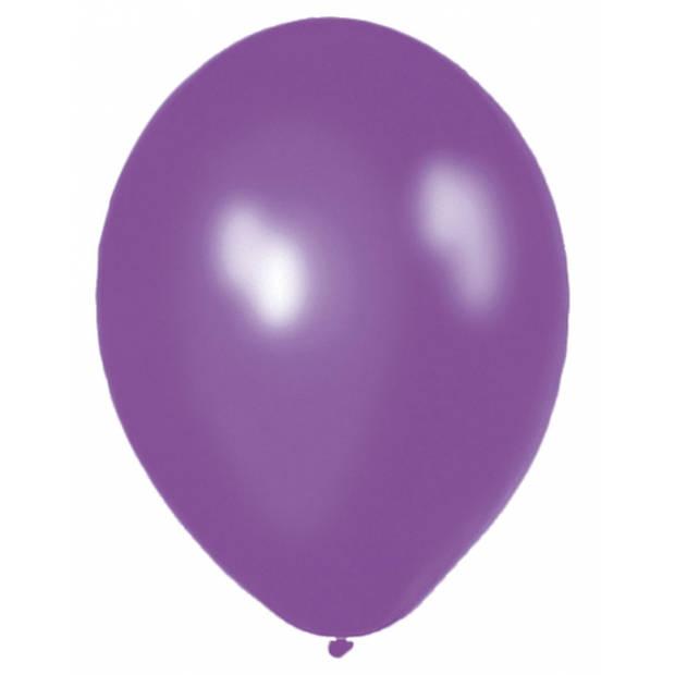 Party ballonnen paars 50x stuks - Feestartikelen en versieringen voor feestje en verjaardag