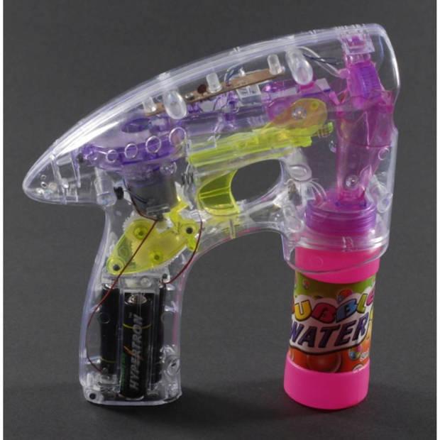 Bellenblaas pistool met LED licht 14 cm - Buitenspeelgoed fun artikelen