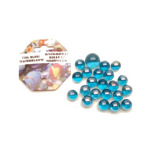 Blauwe kristal knikkers 21 stuks