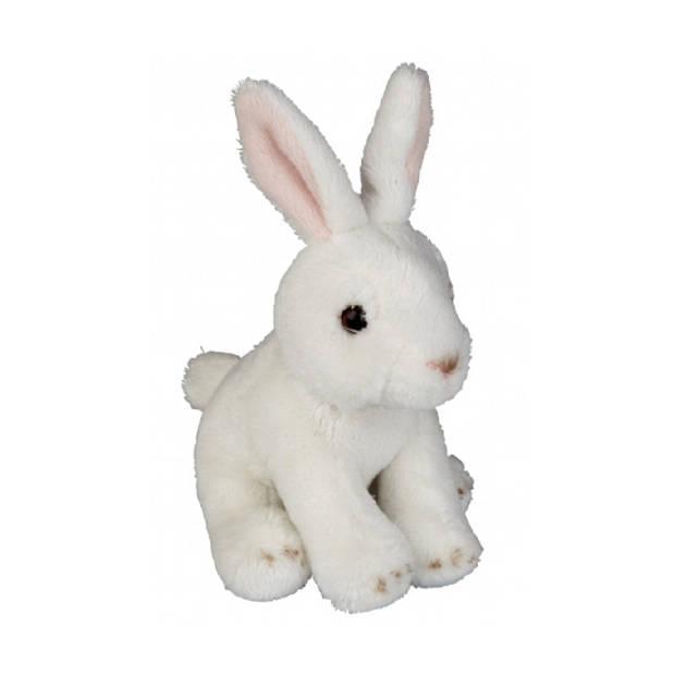 Pluche konijn knuffel 15 cm - konijnen knuffels - ook als Goochelaars konijn gebruiken uit de hoge hoed