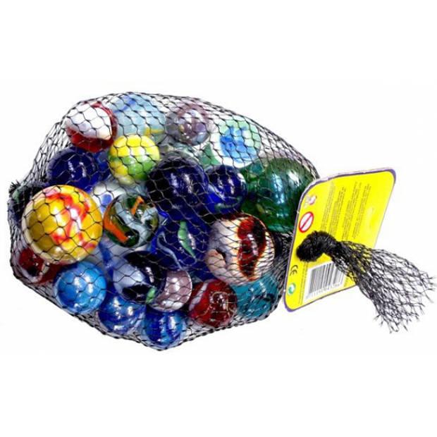 1 kilo knikker bonken in een netje - 4 verschillende formaten - knikkeren - buitenspeelgoed