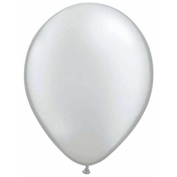 Ballonnen metallic zilver 50 stuks