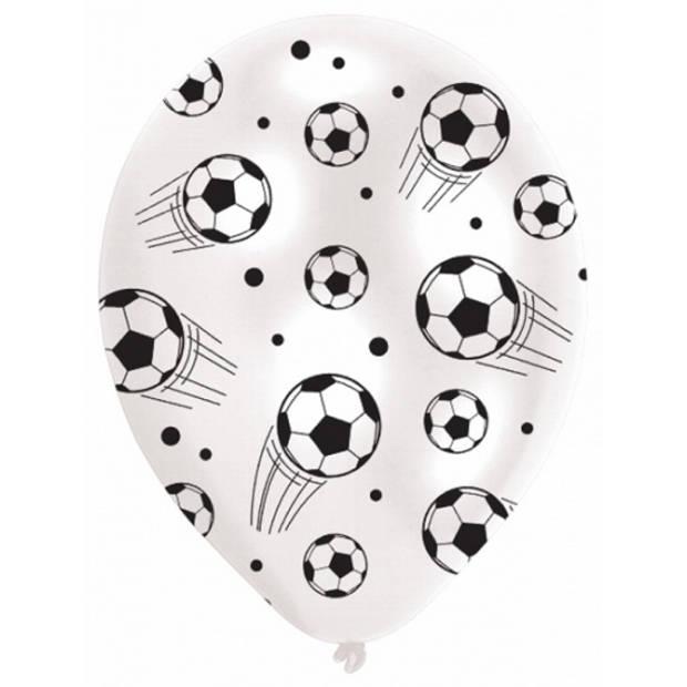 6x stuks Voetbal thema ballonnen - Kinder feestje/verjaardag feestartikelen en versiering