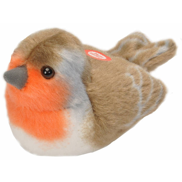 Zingend roodborstje vogel knuffeltje met geluid - 14 cm