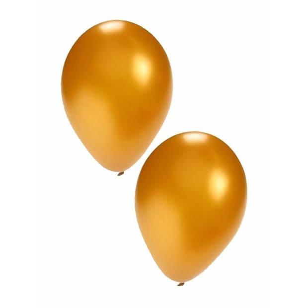 15x stuks gouden ballonnen - formaat 27 cm - ballonnen goud voor lucht of helium