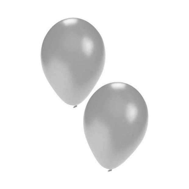 Zilveren ballonnen 100 stuks
