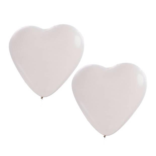 6x stuks Hartjes ballonnen wit van 27 cm - Bruiloft feestartikelen en versieringen