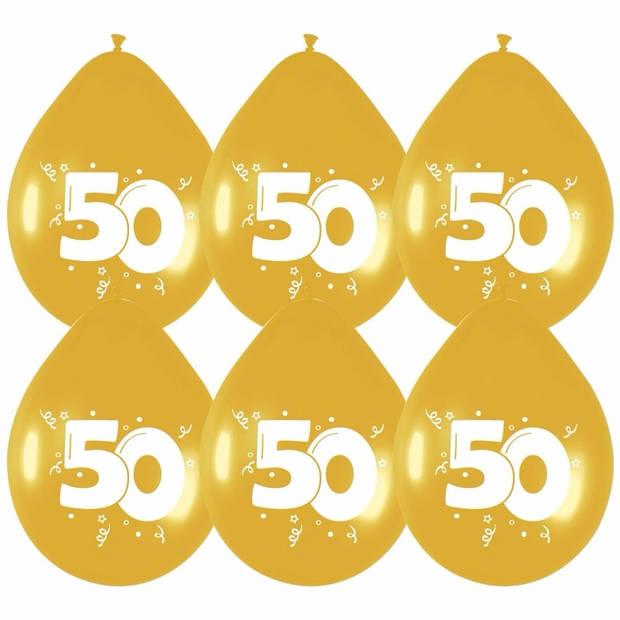 6x stuks gouden ballonnen 50 jaar leeftijd versieringen feestartikelen