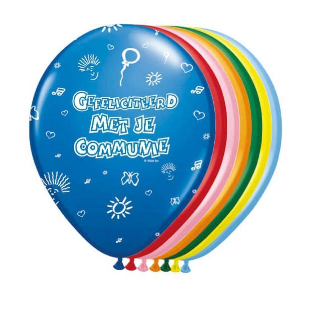 8x stuks Ballonnen communie thema - Heilige communie thema feestartikelen/versieringen