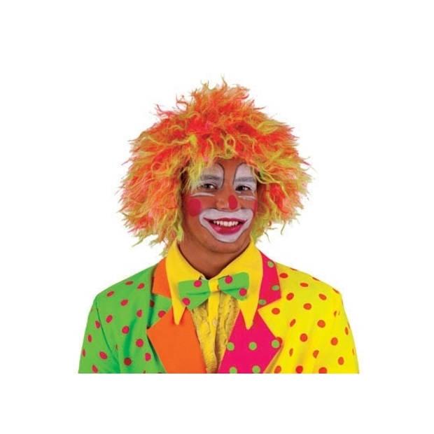 Neon gekleurde clownspruik volwassenen