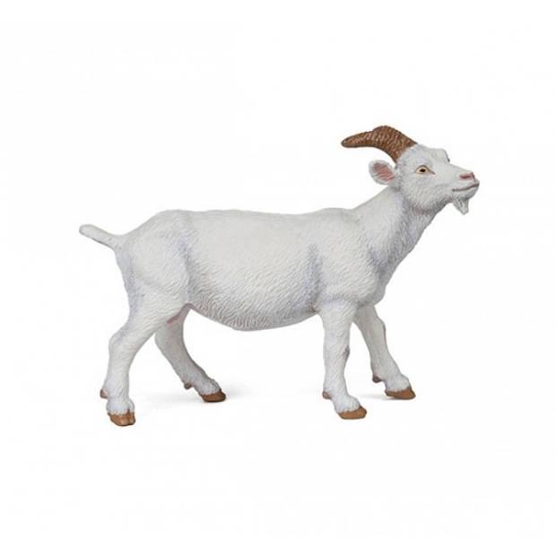 Plastic witte geit 9 cm