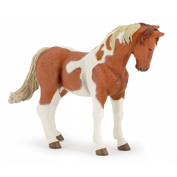 Plastic speelgoed bruin/wit paard 10 cm