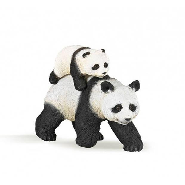 Plastic panda met baby 8 cm