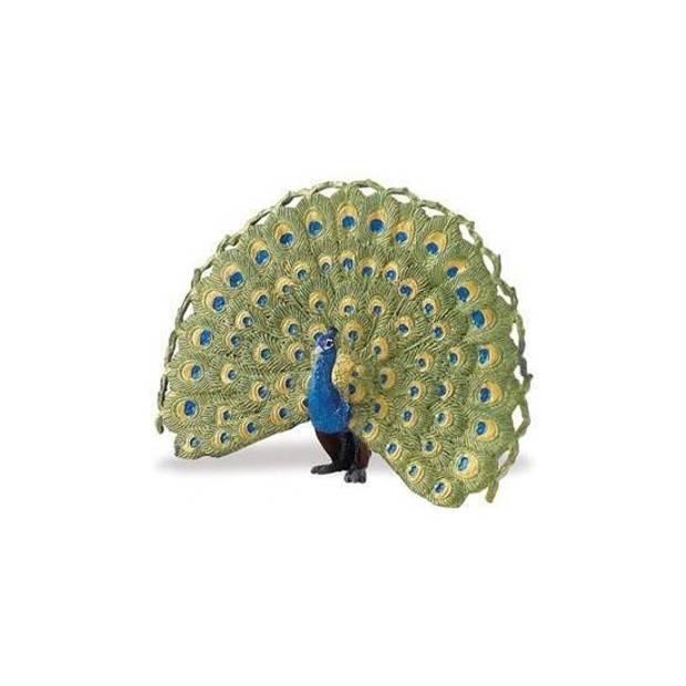 Blauwe pauw van plastic 11 cm