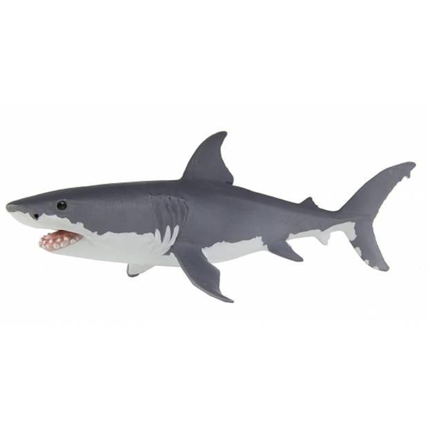 Speelgoed figuur grote witte haai van plastic 13 cm