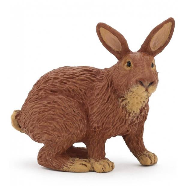 Plastic bruin konijn 4 cm