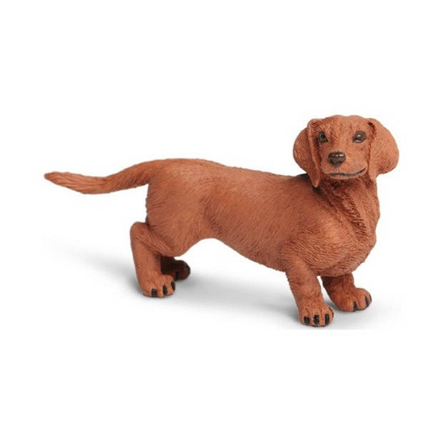 Plastic hond teckel bruin 9 cm