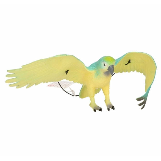 Plastic blauw met zwarte papegaai 33 cm