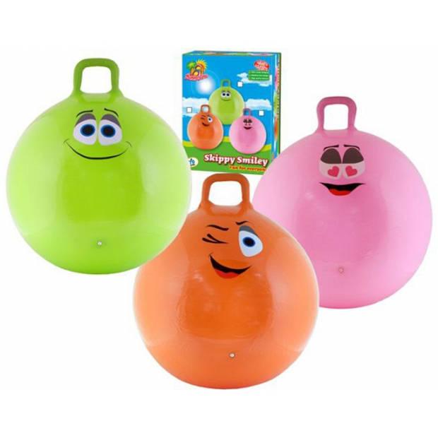 Skippybal smiley voor kinderen 65 cm roze