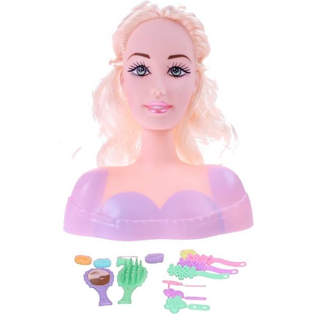Eddy Toys kaphoofd roze met blond haar 15 cm 15-delig