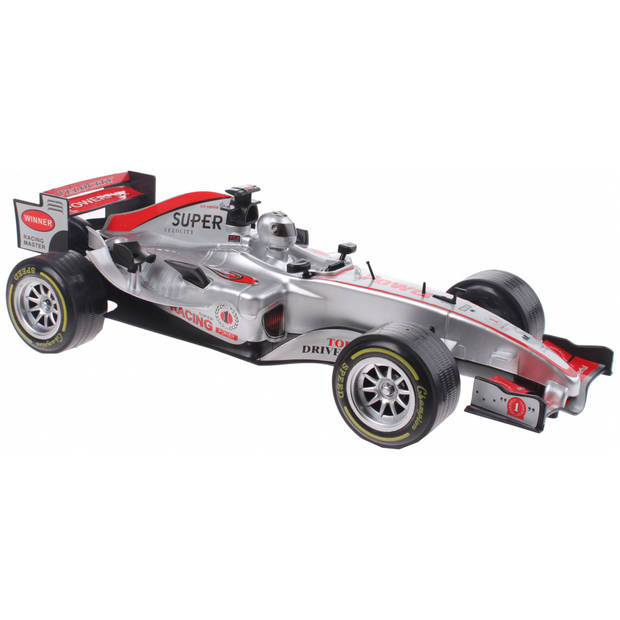 Johntoy raceauto Super Max zilver licht en geluid