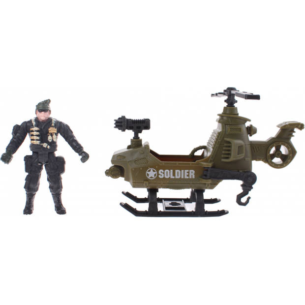 Johntoy leger speelset Army Forces helicopter legergroen