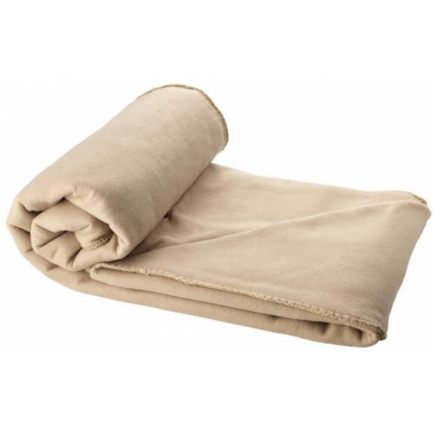 Fleece deken beige 150 x 120 cm - reisdeken met tasje