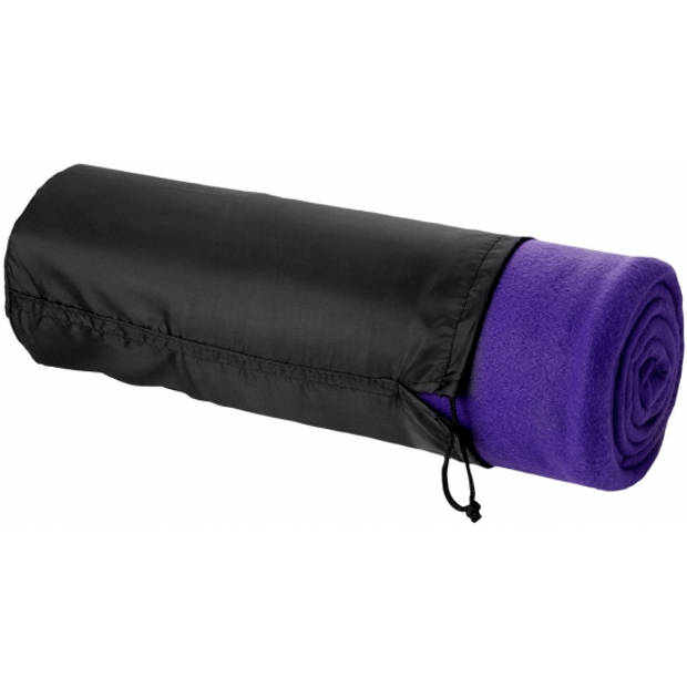 Fleece deken paars 150 x 120 cm - reisdeken met tasje