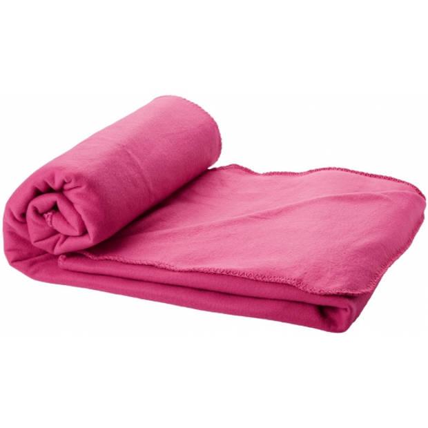 Fleece deken roze 150 x 120 cm - reisdeken met tasje