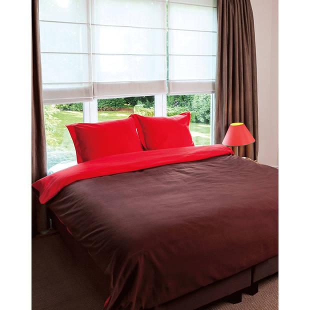 Flanellen dekbedovertrek comtesse bruin/rood-200 x 200/220 cm