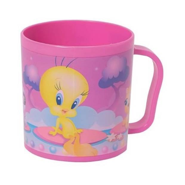 Looney tunes tweety mok kunststof 350 ml roze