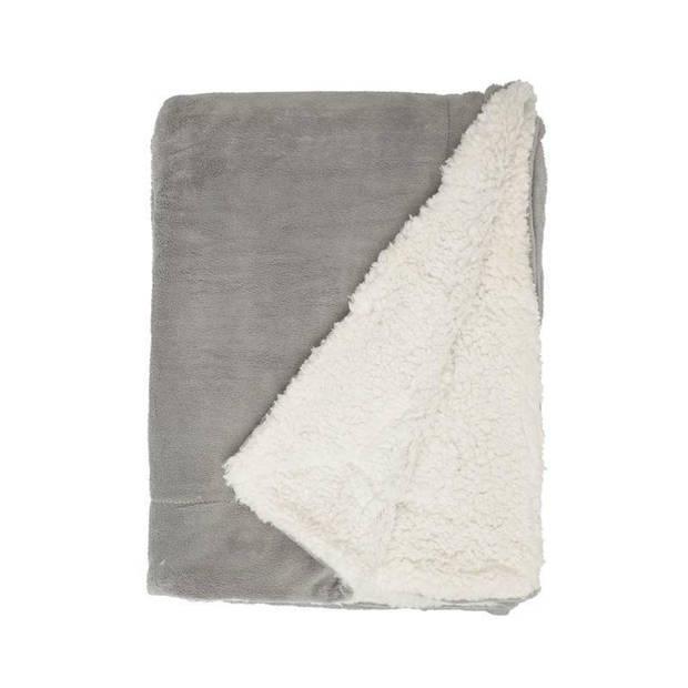 Unique Living Lars fleece plaid XL - 100% polyester - 220x240 cm - Grijs