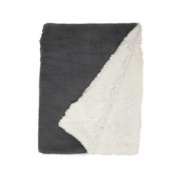 Unique Living Lars fleece plaid XL - 100% polyester - 220x240 cm - Antraciet