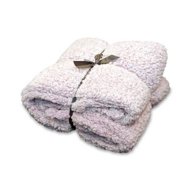Unique Living Knut fleece plaid - 100% polyester - 150x200 cm - Old Pink