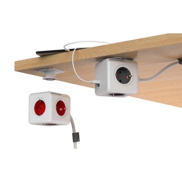 PowerCube Extended Duo USB 4 stopcontacten met 2x USB lader - grijs