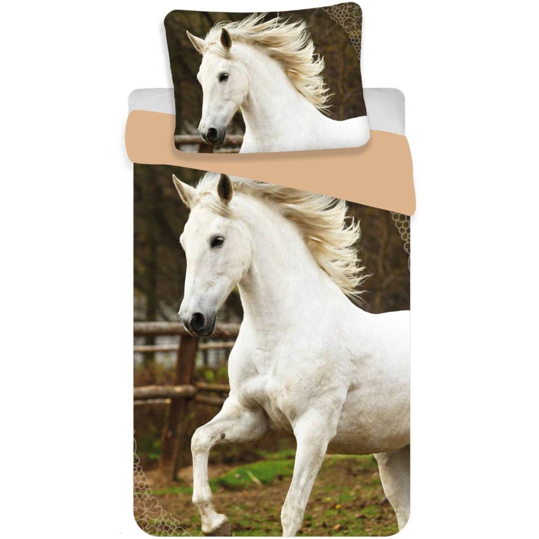 Wit Paard - Dekbedovertrek - Eenpersoons - 140 x 200 cm - Multi