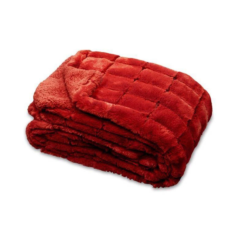 Unique Living Xavi fleece plaid - 100% polyester, Fleece polyester - 130x160 cm - Rood, Red