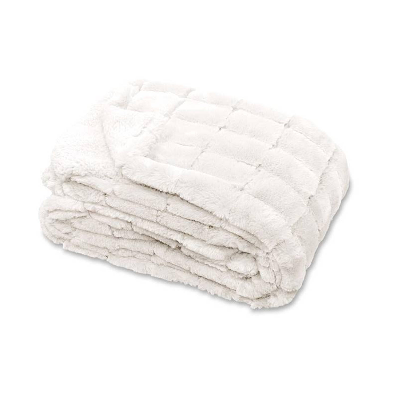 Unique Living Xavi fleece plaid - 100% polyester, Fleece polyester - 130x160 cm - Wit, Off white