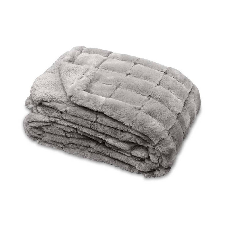 Unique Living Xavi fleece plaid - 100% polyester, Fleece polyester - 130x160 cm - Grijs