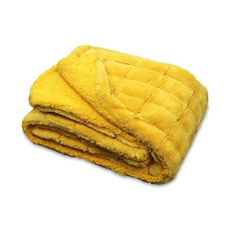 Unique Living Xavi fleece plaid - 100% polyester, Fleece polyester - 130x160 cm - Geel, Golden Glow