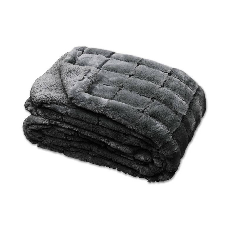 Unique Living Xavi fleece plaid - 100% polyester, Fleece polyester - 130x160 cm - Grijs, Dark grey