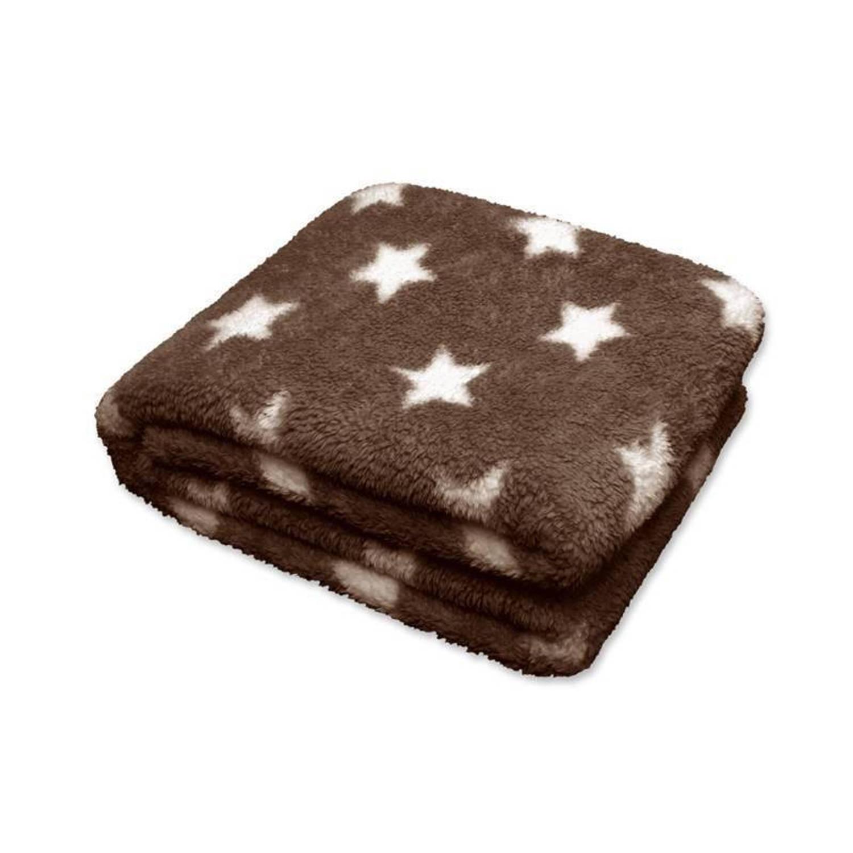 Unique Living Stars fleece plaid - 100% polyester, Fleece polyester - 150x200 cm - Bruin